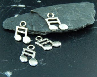 Silver music note 4 pendants charms