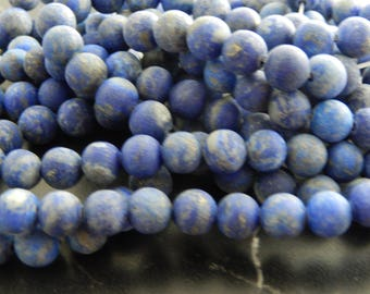 10 beads of Lapis Lazuli frosted 8 mm