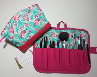 All case and vanity case faux leather and fabric Flamingo, fully lined.