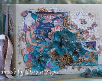 Scrapbook album Graphic45, Mixed media ,photo album by Dorota Kopec