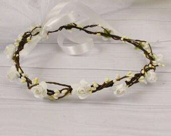 Braided Flower Crown Veil Bachelorette Flower Crown Bridesmaids Bride To Be Bachelorette Party Flower Crown Veil Boho Flower Crown