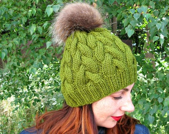 Cable knit hat, Fur pompon cable hat, Knit gift for woman, Girlfriend gift hat, Green handknit hat, knit hat with braids, braided knit hat