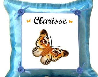 Coussin bleu Papillon personnalisé avec prénom