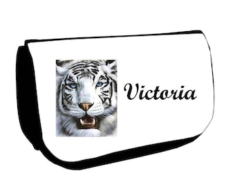 Black White Tiger /crayons make-up case personalized with name