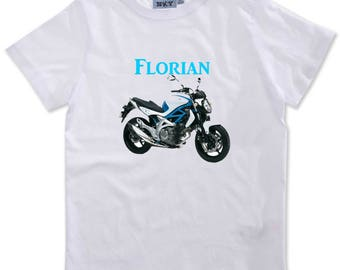 T-shirt boy bike personalized with name
