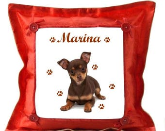 Red Chihuahua dog cushion personalised with name