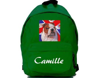 bag has green English Bouldog personalized with name