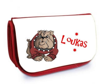 Cosmetic case red /crayons dog personalized with name