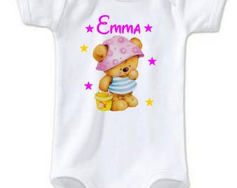 Teddy bear personalized with name Bodysuit