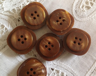Set of six vintage buttons, 28mm, brown glass