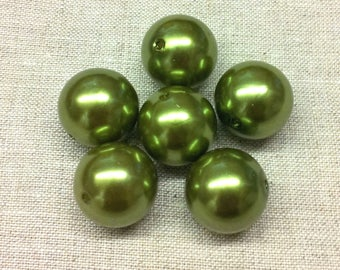 Set of 6 large acrylic beads - Green Pearl - 20 mm T44