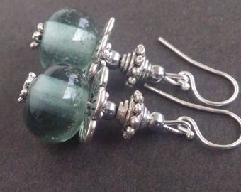Transparent grey Lampwork earrings