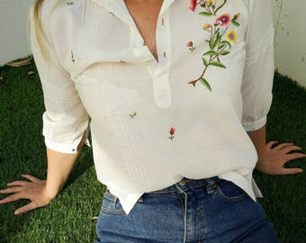 Vintage Hand Embroided Cream Blouse