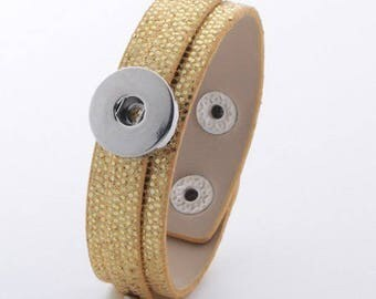 glittery gold leatherette bracelet bright effect snake for snaps and 2 clasp snaps, adjustable