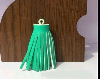 2 60mm Emerald color imitation leather tassels