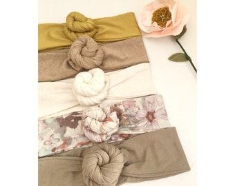 Bandeau / headband nœuds fleurs style bohème, pour les petites et les grandes.