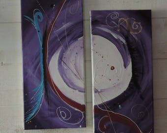 life is beautiful-acrylic abstract painting diptych paintings - purple embossed pebeo