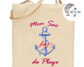 Navy tote bag, anchor beach bag