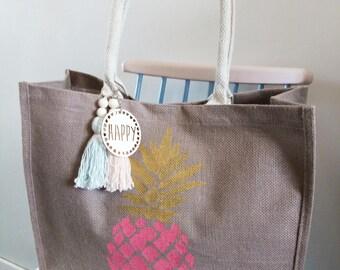 """Pineapple"" jute basket, beach/Shopping tote bag"