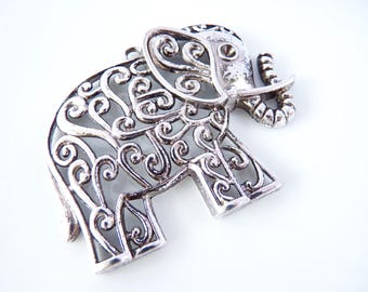1 maxi pendant Elephant Ajoure 50 x 63 mm - silver