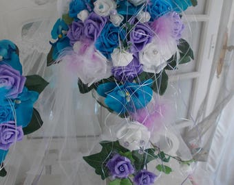 turquoise and purple orchids and roses wedding bridal bouquets