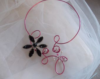 Necklace fuchsia and black or all fuchsia with Orchid