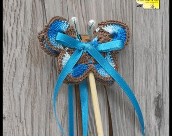 20 sticks ribbons butterflies for Church outing: turquoise and Brown crochet and satin ribbon