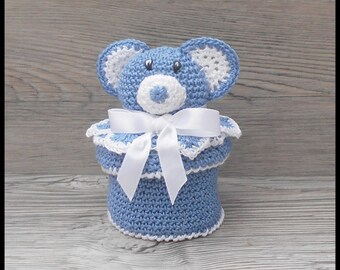 10 blue and white Teddy bear for baptism favors boxes