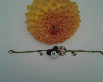 Bracelet bronze chain, cabochon flower and Bell Mickey head