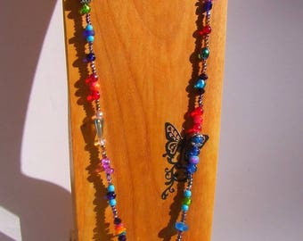 Long necklace multicolor trendy boho multicolor Iridescent in the 1.20 m Long