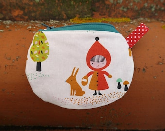 "Purse girl ""Little Riding Hood red and rabbit"" zipper and lined"