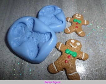 New and Rare! 2.5 cm and 3.5 cm gingerbread cookie mold! set of 2