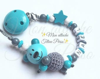 """personalized wooden pacifier ~ turquoise bear model """"Naël"""""""