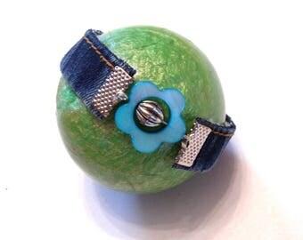 bracelet in denim and blue flower