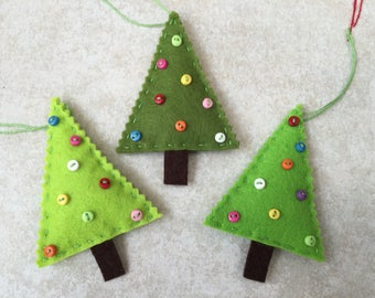set of 3 hanging Christmas tree decoration handmade unique Christmas decoration, Christmas tree felt