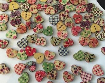 10 button wood button, scrapbooking, customisation, card making, button heart embellishment