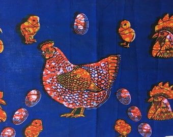 "1 coupon African ""Family"" blue/red/Tan - 30 x 100 cm"
