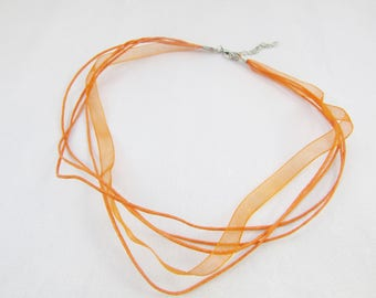 Organza Ribbon necklace and waxed cotton - Orange - 45cm - length adjustable 45-50cm
