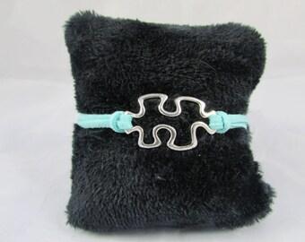 """Puzzle"" - REF BS014 turquoise suede bracelet"