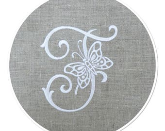 LETTER - F - WHITE ON LINEN DECOR BUTTERFLY WIRE EMBROIDERED MONOGRAM