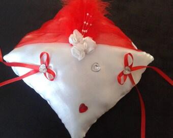 Red & white satin ring cushion