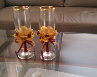Glass flutes & the petals of rose gold plated