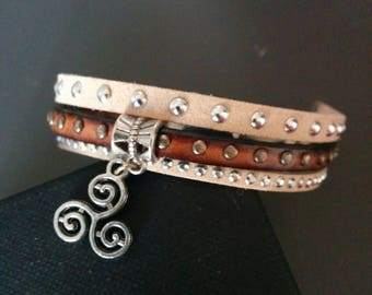 brown suede and leather bracelet