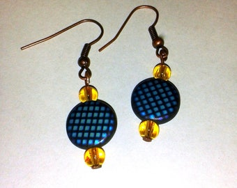 Yellow and blue planet earrings