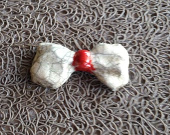 White bow and Red raku pottery for Mosaic, jewelry or any other creations