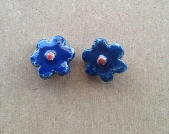 Pair of Flower Earrings - blue and Red - raku ceramic