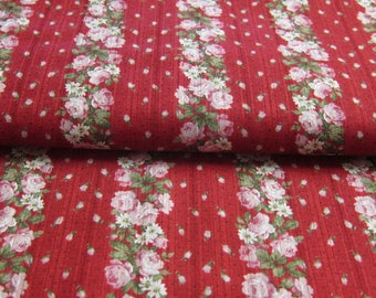 Flower on red Japanese YUWA fabric.