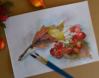 Watercolor on paper original and beautiful, drawing, Art Deco, autumn, fall wall hanging leaves