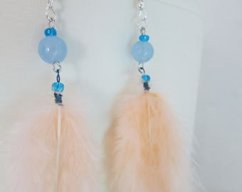 AQUAMARINE stone and feather earrings
