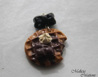 """Gourmet necklace """"Waffle chocolate whipped cream"""""""
